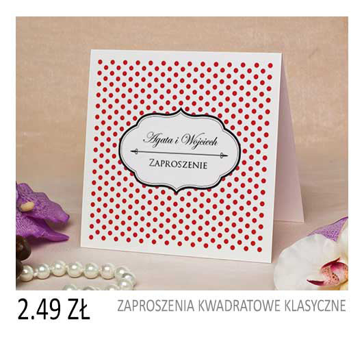 zaproszenia ślubne kwadratowe klasyczne cena 1,99