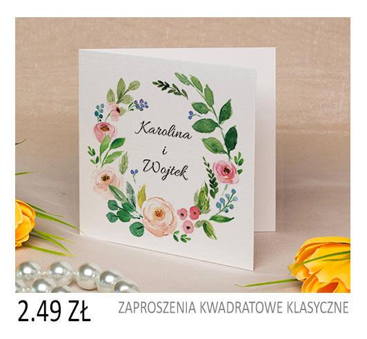 zaproszenia ślubne kwadratowe kwiatowe cena 1,99