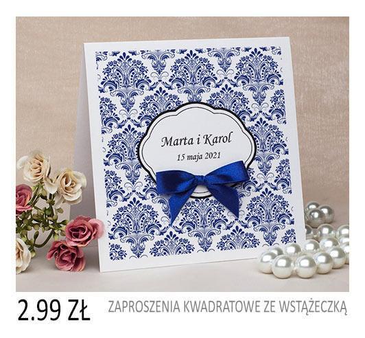 zaproszenia ślubne kwadratowe ze wstążeczką cena 2,49