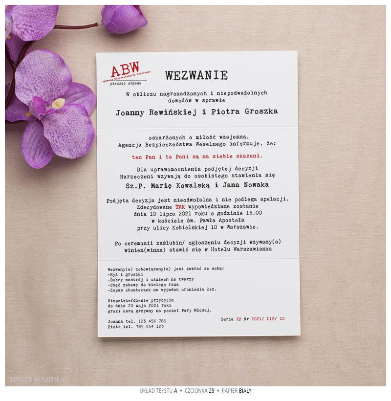 zaproszenia ślubne wezwanie