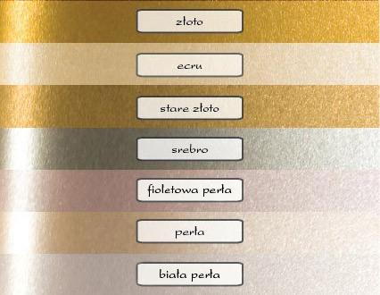 ozdobny papier metalizowany zaproszeń ślubnych - 7 kolorów
