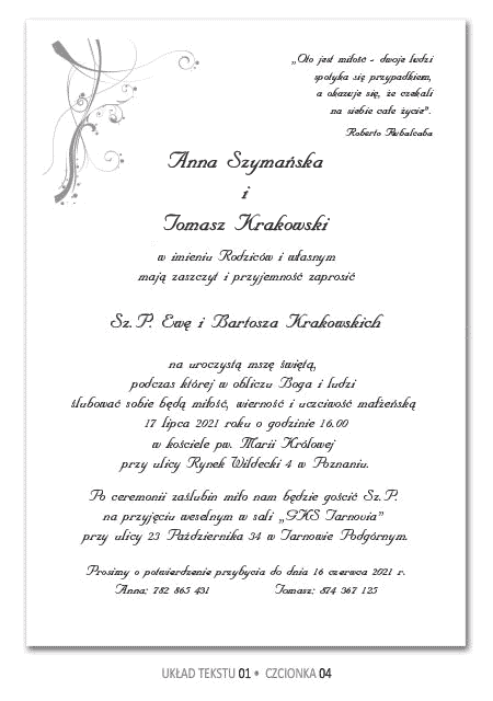 Teksty Zaproszenia ślubne